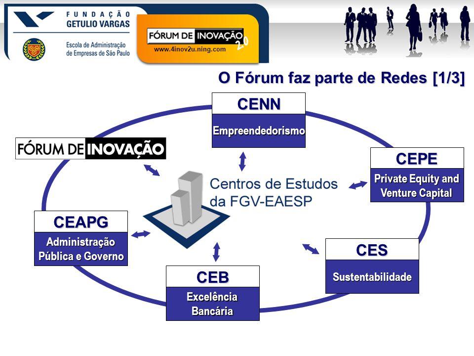 www.4inov2u.ning.com O Fórum faz parte de Redes [1/3] CEAPG Administração Pública e Governo CENN Empreendedorismo CEPE Private Equity and Venture Capi