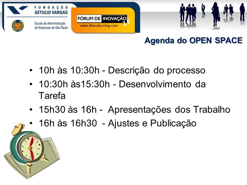 www.4inov2u.ning.com Agenda do OPEN SPACE 10h às 10:30h - Descrição do processo 10:30h às15:30h - Desenvolvimento da Tarefa 15h30 às 16h - Apresentaçõ