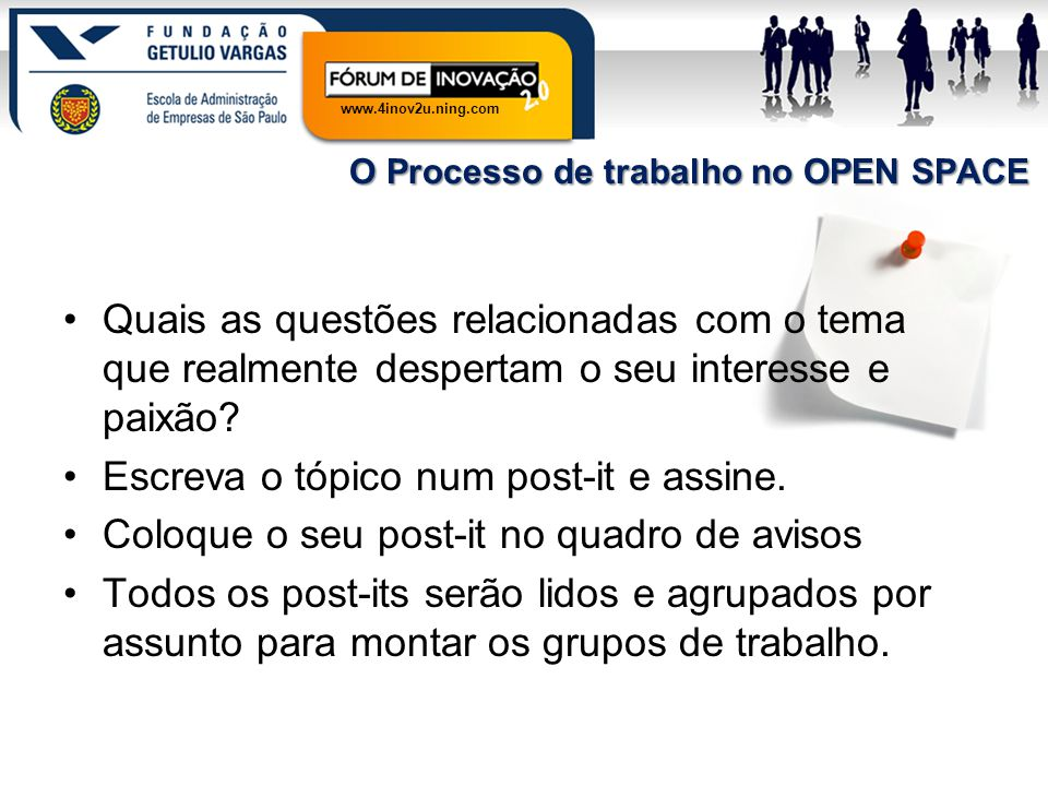 www.4inov2u.ning.com O Processo de trabalho no OPEN SPACE Quais as questões relacionadas com o tema que realmente despertam o seu interesse e paixão?