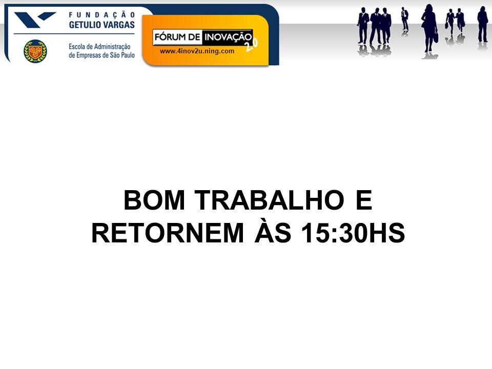 www.4inov2u.ning.com BOM TRABALHO E RETORNEM ÀS 15:30HS