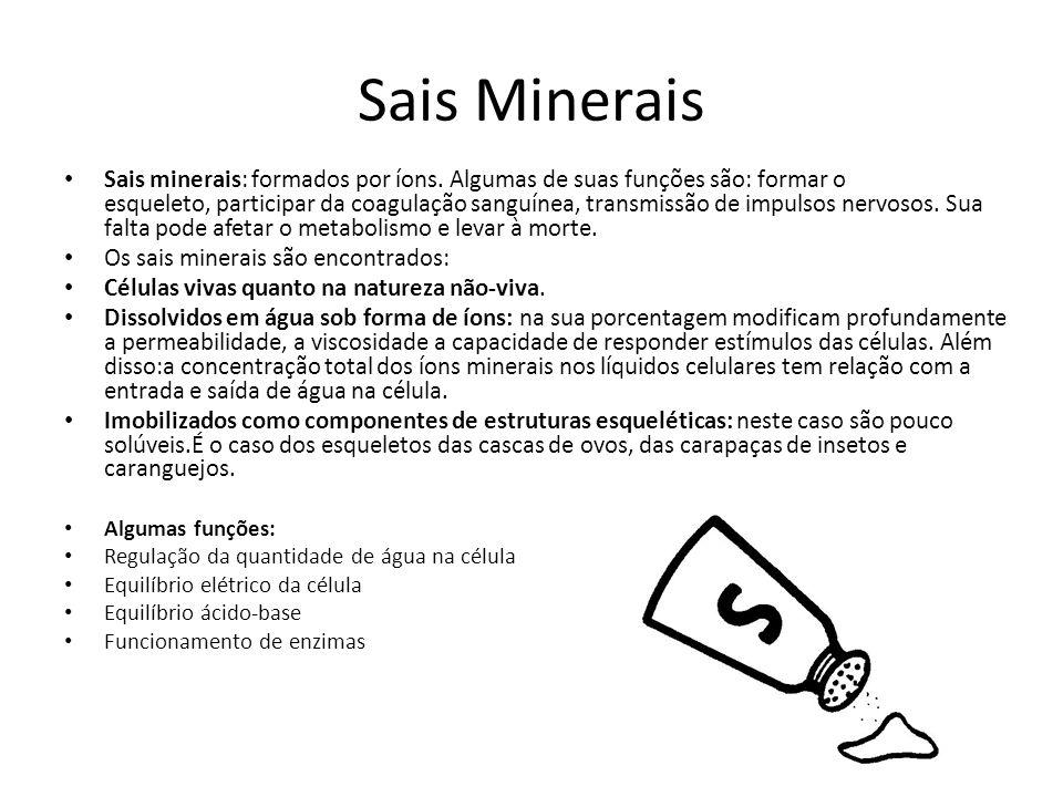 Sais Minerais Sais minerais: formados por íons. Algumas de suas funções são: formar o esqueleto, participar da coagulação sanguínea, transmissão de im