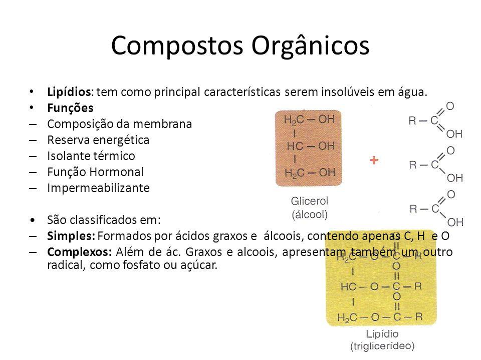 Compostos Orgânicos Lipídios: tem como principal características serem insolúveis em água. Funções – Composição da membrana – Reserva energética – Iso