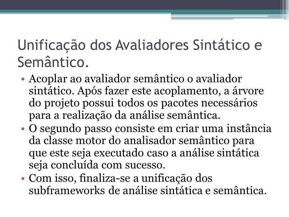 Unificação dos Avaliadores Sintático e Semântico.
