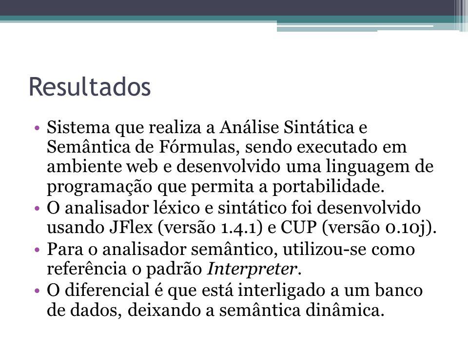 Resultados Sistema que realiza a Análise Sintática e Semântica de Fórmulas, sendo executado em ambiente web e desenvolvido uma linguagem de programação que permita a portabilidade.
