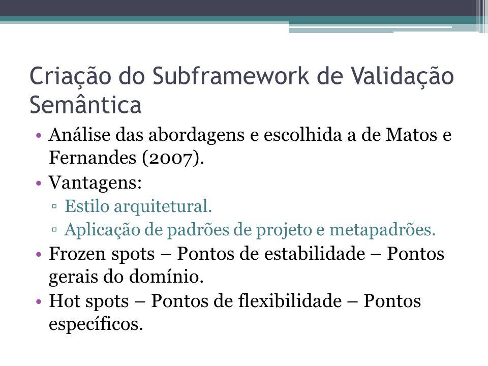 Criação do Subframework de Validação Semântica Análise das abordagens e escolhida a de Matos e Fernandes (2007).