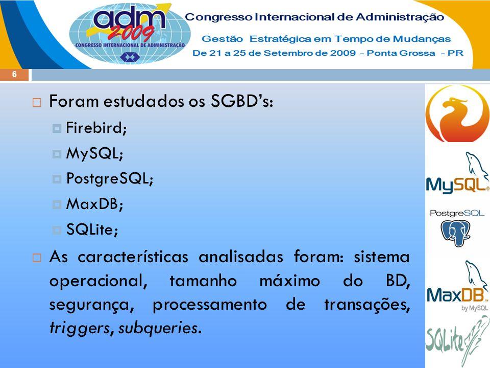 6  Foram estudados os SGBD's:  Firebird;  MySQL;  PostgreSQL;  MaxDB;  SQLite;  As características analisadas foram: sistema operacional, tamanho máximo do BD, segurança, processamento de transações, triggers, subqueries.