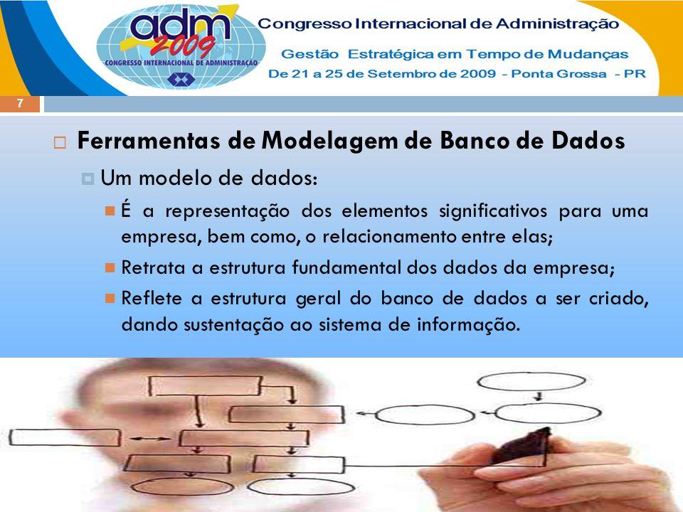 7  Ferramentas de Modelagem de Banco de Dados  Um modelo de dados: É a representação dos elementos significativos para uma empresa, bem como, o rela