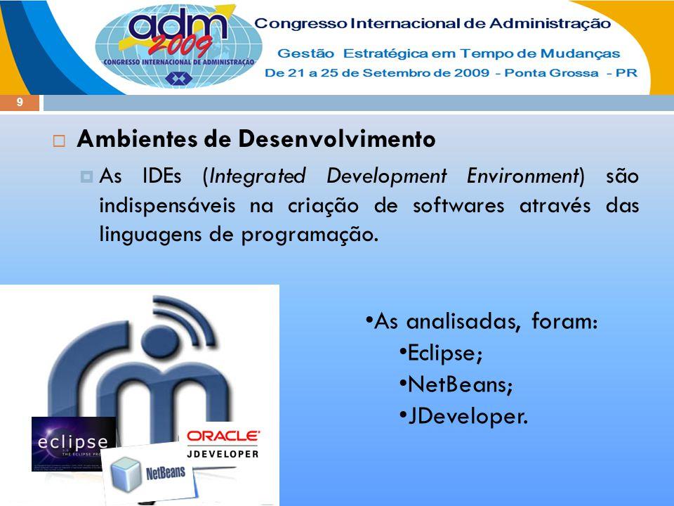9  Ambientes de Desenvolvimento  As IDEs (Integrated Development Environment) são indispensáveis na criação de softwares através das linguagens de p