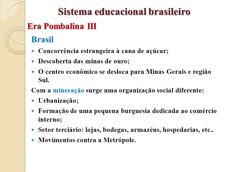Brasil Concorrência estrangeira à cana de açúcar; Descoberta das minas de ouro; O centro econômico se desloca para Minas Gerais e região Sul. Com a mi
