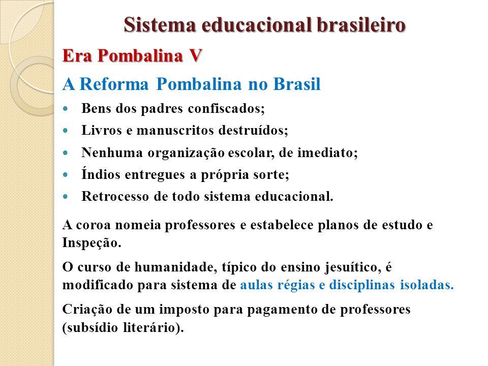 A Reforma Pombalina no Brasil Bens dos padres confiscados; Livros e manuscritos destruídos; Nenhuma organização escolar, de imediato; Índios entregues