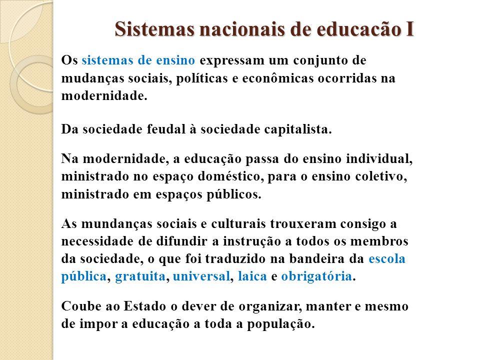 Sistemas nacionais de educacão I Os sistemas de ensino expressam um conjunto de mudanças sociais, políticas e econômicas ocorridas na modernidade. Da
