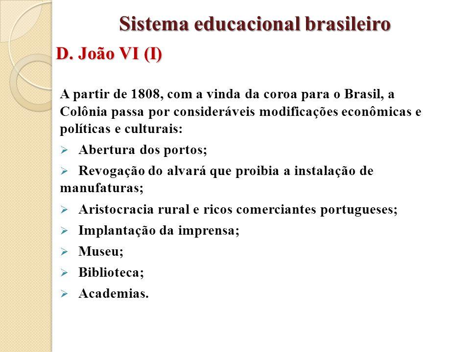 A partir de 1808, com a vinda da coroa para o Brasil, a Colônia passa por consideráveis modificações econômicas e políticas e culturais:  Abertura do