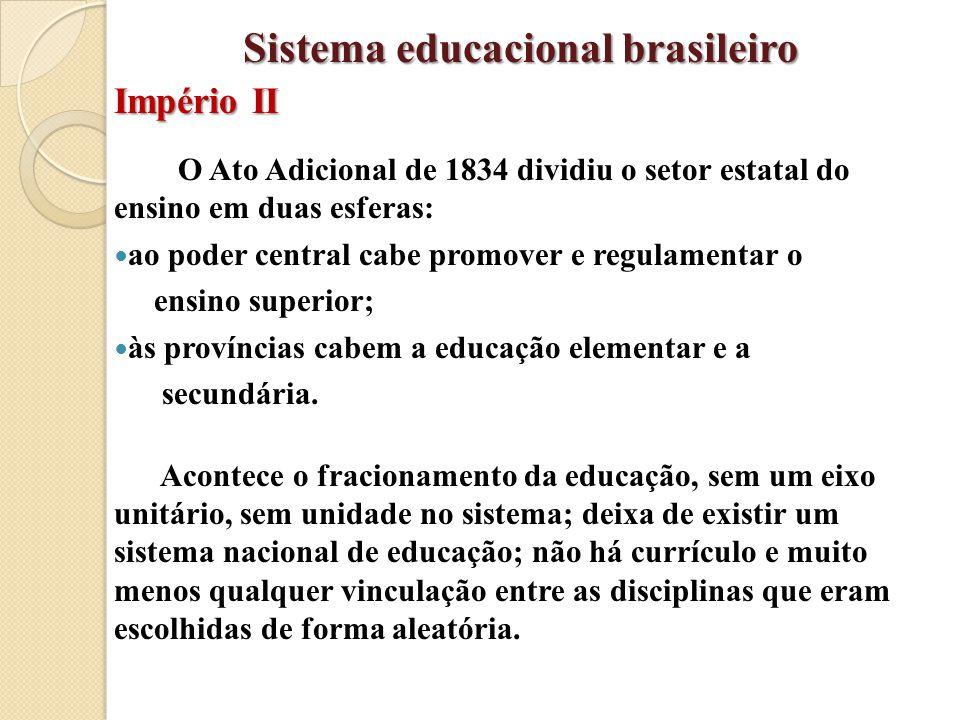 O Ato Adicional de 1834 dividiu o setor estatal do ensino em duas esferas: ao poder central cabe promover e regulamentar o ensino superior; às provínc