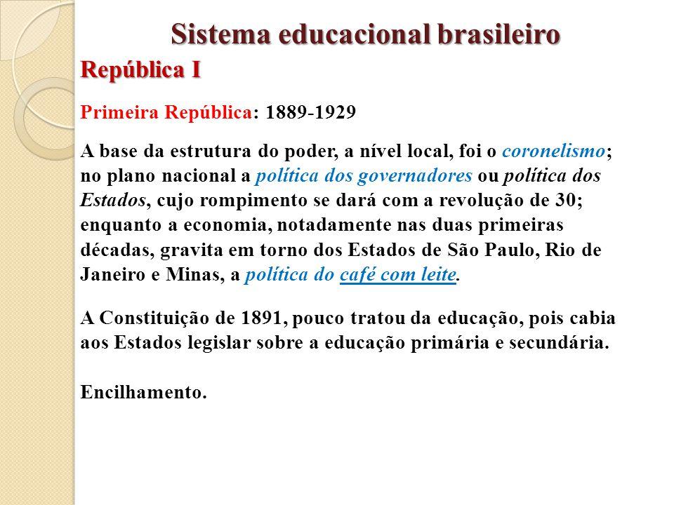 Primeira República: 1889-1929 A base da estrutura do poder, a nível local, foi o coronelismo; no plano nacional a política dos governadores ou polític