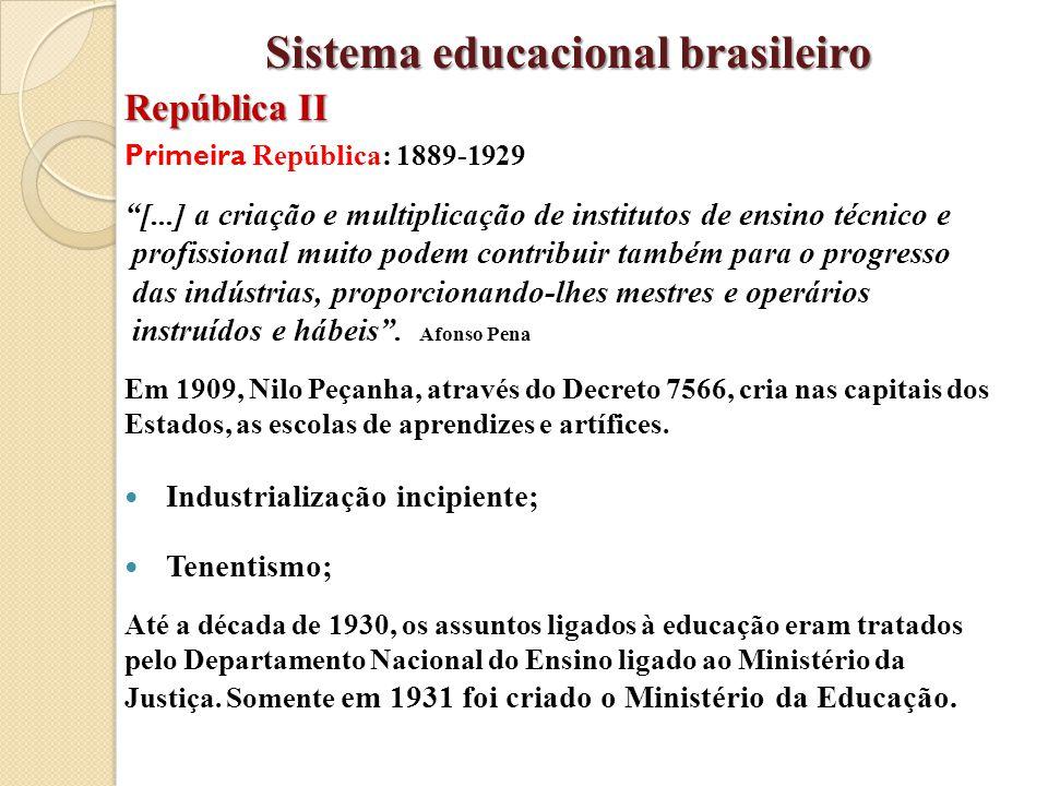 """Primeira República: 1889-1929 """"[...] a criação e multiplicação de institutos de ensino técnico e profissional muito podem contribuir também para o pro"""