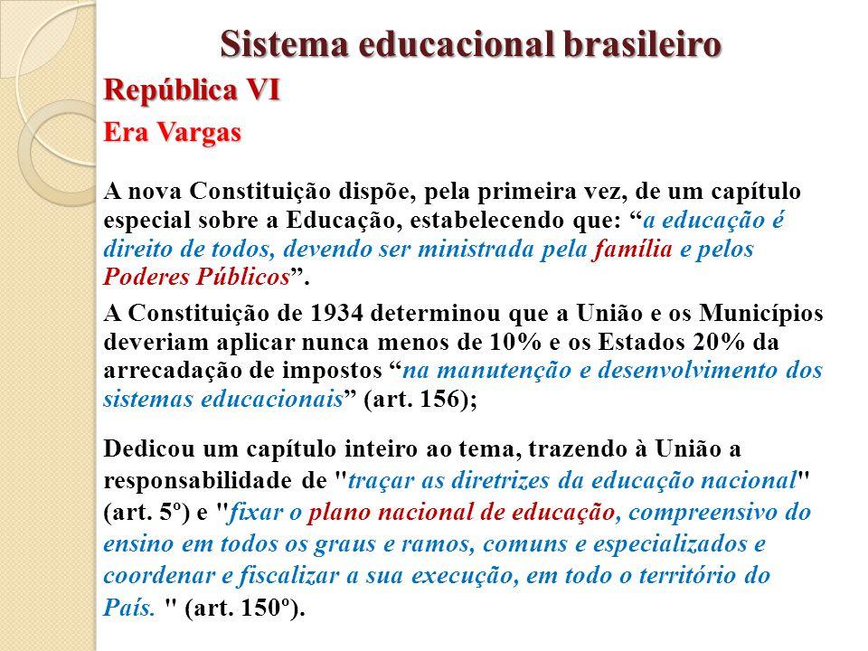 """Era Vargas A nova Constituição dispõe, pela primeira vez, de um capítulo especial sobre a Educação, estabelecendo que: """"a educação é direito de todos,"""