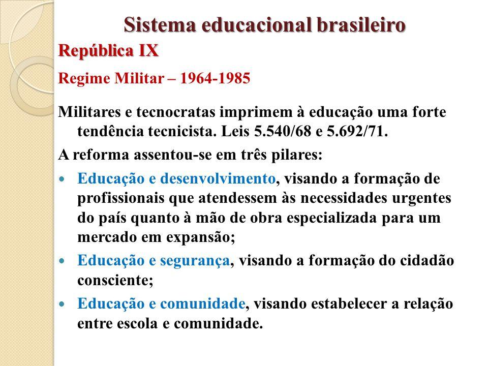 Regime Militar – 1964-1985 Militares e tecnocratas imprimem à educação uma forte tendência tecnicista. Leis 5.540/68 e 5.692/71. A reforma assentou-se