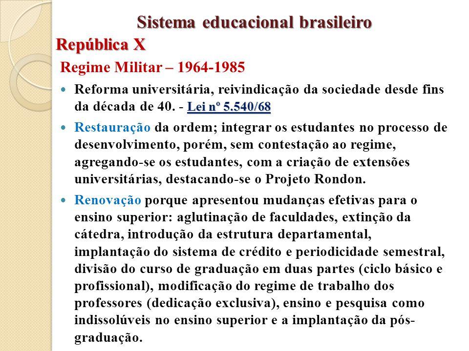 Regime Militar – 1964-1985 Lei nº 5.540/68 Reforma universitária, reivindicação da sociedade desde fins da década de 40. - Lei nº 5.540/68 Restauração