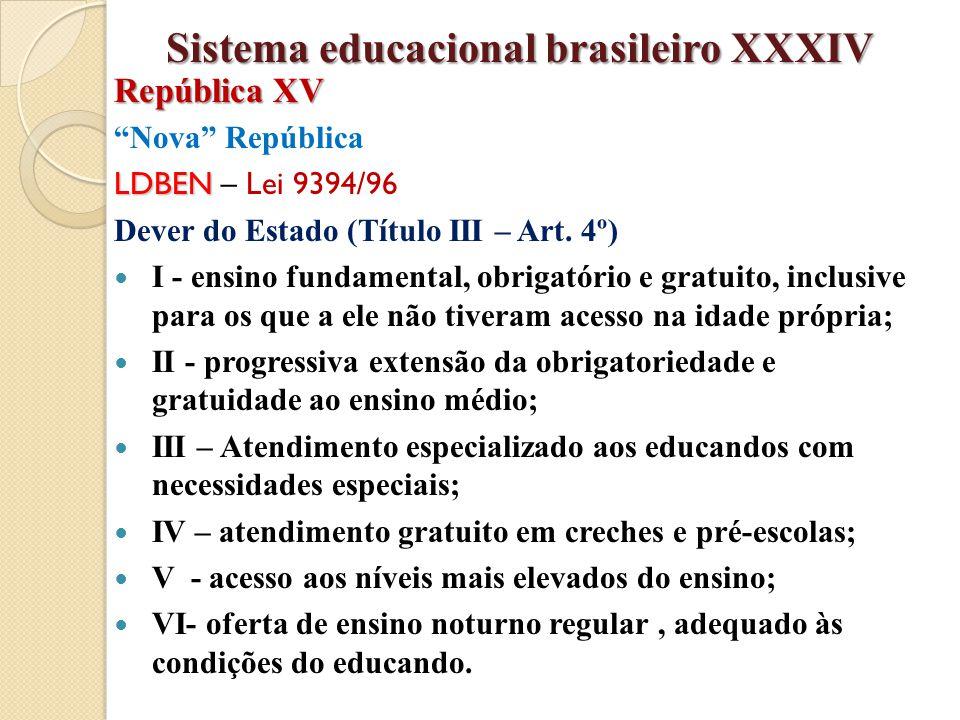 """""""Nova"""" República LDBEN LDBEN – Lei 9394/96 Dever do Estado (Título III – Art. 4º) I - ensino fundamental, obrigatório e gratuito, inclusive para os qu"""