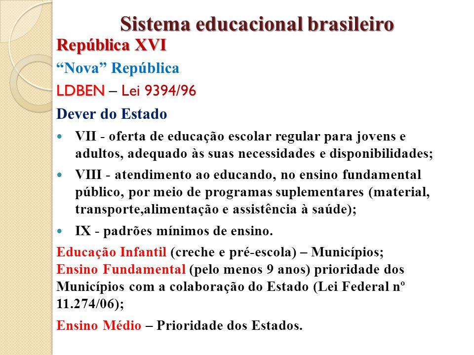 """""""Nova"""" República LDBEN LDBEN – Lei 9394/96 Dever do Estado VII - oferta de educação escolar regular para jovens e adultos, adequado às suas necessidad"""
