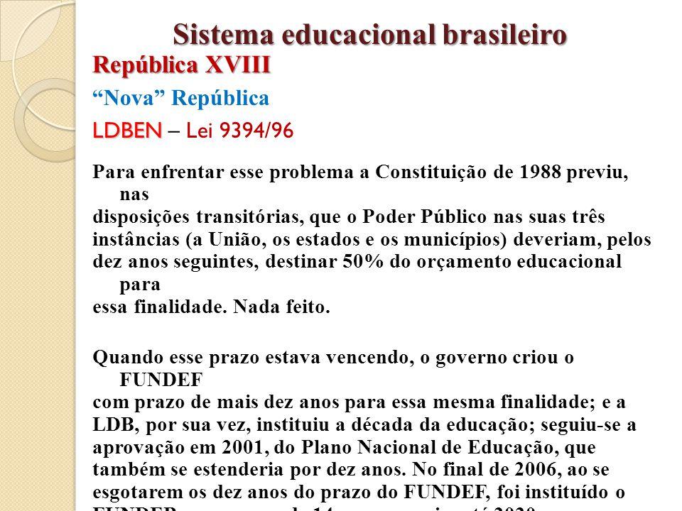 """""""Nova"""" República LDBEN LDBEN – Lei 9394/96 Para enfrentar esse problema a Constituição de 1988 previu, nas disposições transitórias, que o Poder Públi"""