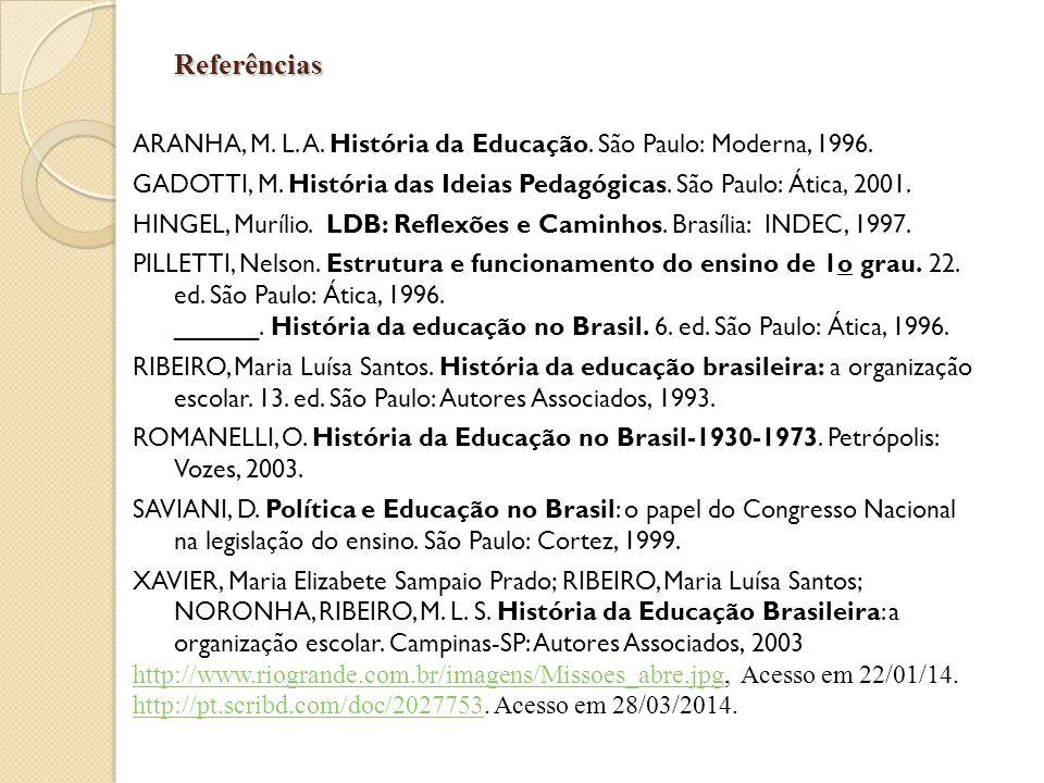 Referências ARANHA, M. L. A. História da Educação. São Paulo: Moderna, 1996. GADOTTI, M. História das Ideias Pedagógicas. São Paulo: Ática, 2001. HING