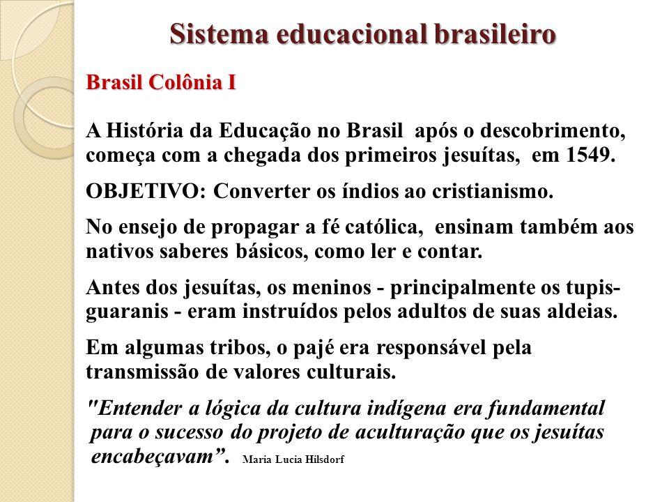 Brasil Colônia I A História da Educação no Brasil após o descobrimento, começa com a chegada dos primeiros jesuítas, em 1549. OBJETIVO: Converter os í