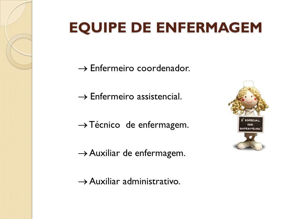 EQUIPE DE ENFERMAGEM  Enfermeiro coordenador.  Enfermeiro assistencial.  Técnico de enfermagem.  Auxiliar de enfermagem.  Auxiliar administrativo