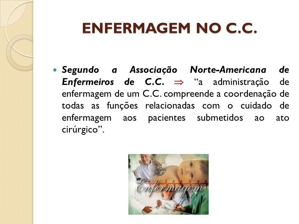 """ENFERMAGEM NO C.C. Segundo a Associação Norte-Americana de Enfermeiros de C.C.  """"a administração de enfermagem de um C.C. compreende a coordenação de"""