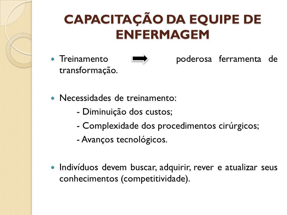 CAPACITAÇÃO DA EQUIPE DE ENFERMAGEM Treinamento poderosa ferramenta de transformação. Necessidades de treinamento: - Diminuição dos custos; - Complexi
