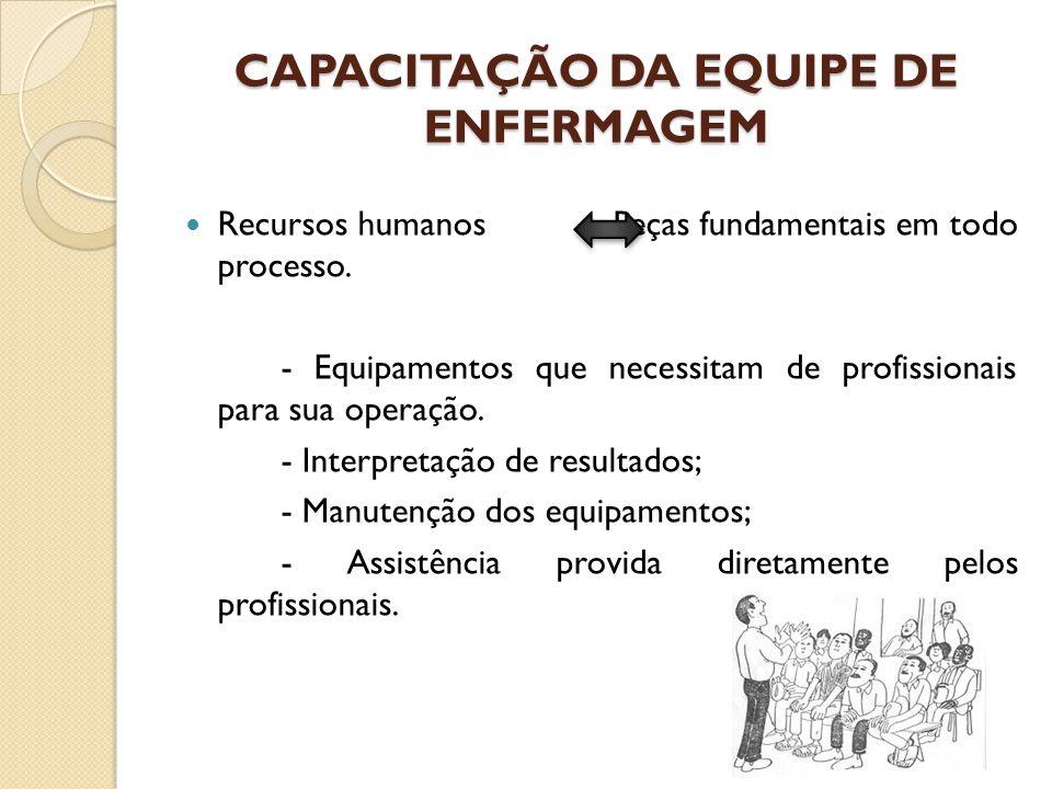 CAPACITAÇÃO DA EQUIPE DE ENFERMAGEM Recursos humanos Peças fundamentais em todo processo. - Equipamentos que necessitam de profissionais para sua oper