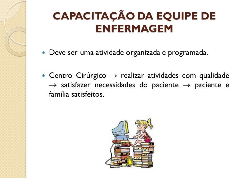 CAPACITAÇÃO DA EQUIPE DE ENFERMAGEM Deve ser uma atividade organizada e programada. Centro Cirúrgico  realizar atividades com qualidade  satisfazer