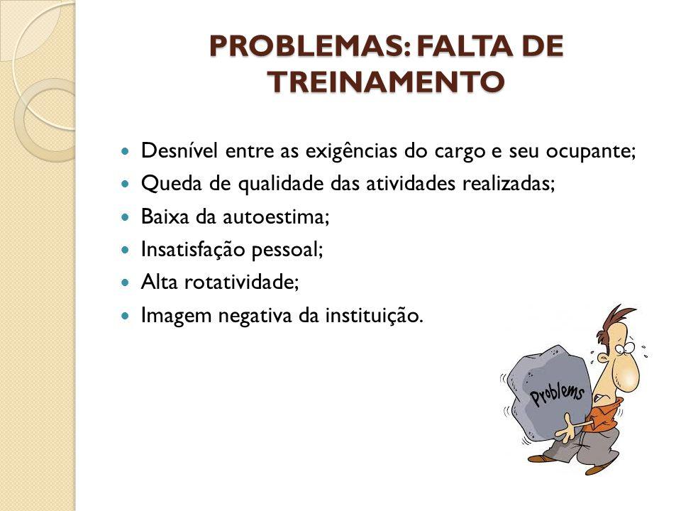 PROBLEMAS: FALTA DE TREINAMENTO Desnível entre as exigências do cargo e seu ocupante; Queda de qualidade das atividades realizadas; Baixa da autoestim