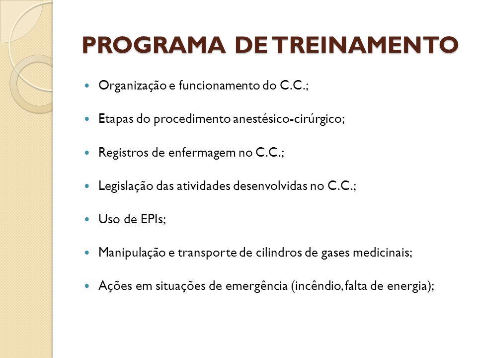 PROGRAMA DE TREINAMENTO Organização e funcionamento do C.C.; Etapas do procedimento anestésico-cirúrgico; Registros de enfermagem no C.C.; Legislação