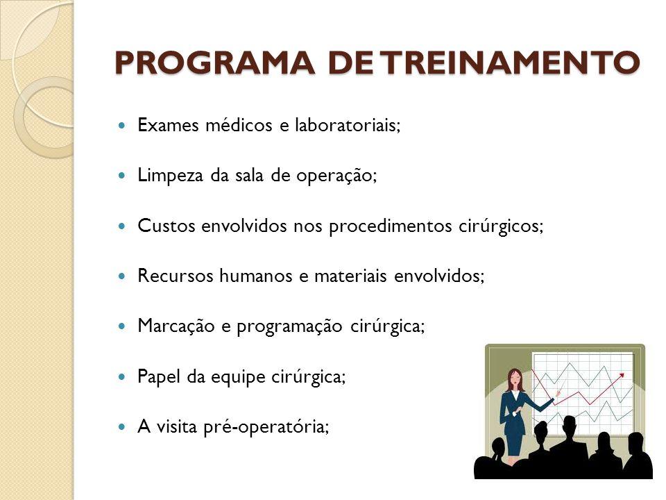 PROGRAMA DE TREINAMENTO Exames médicos e laboratoriais; Limpeza da sala de operação; Custos envolvidos nos procedimentos cirúrgicos; Recursos humanos