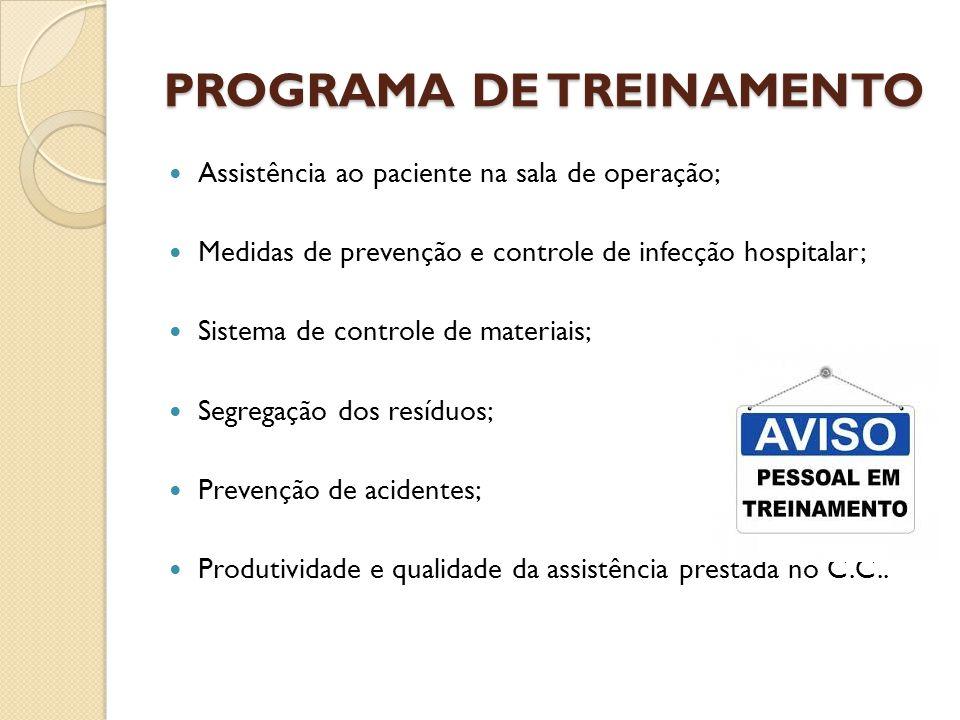 PROGRAMA DE TREINAMENTO Assistência ao paciente na sala de operação; Medidas de prevenção e controle de infecção hospitalar; Sistema de controle de ma