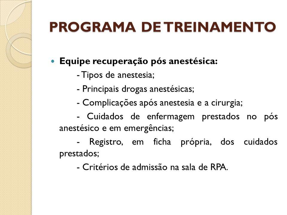 Equipe recuperação pós anestésica: - Tipos de anestesia; - Principais drogas anestésicas; - Complicações após anestesia e a cirurgia; - Cuidados de enfermagem prestados no pós anestésico e em emergências; - Registro, em ficha própria, dos cuidados prestados; - Critérios de admissão na sala de RPA.