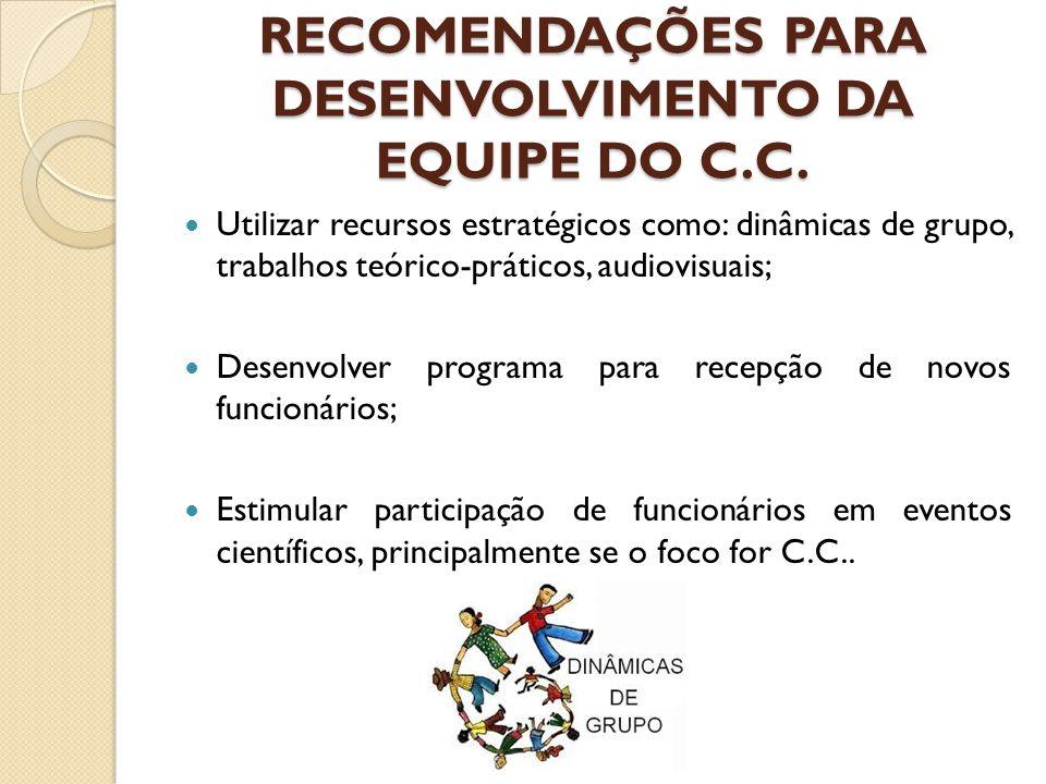 RECOMENDAÇÕES PARA DESENVOLVIMENTO DA EQUIPE DO C.C. Utilizar recursos estratégicos como: dinâmicas de grupo, trabalhos teórico-práticos, audiovisuais