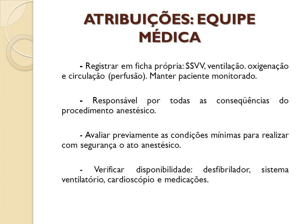 ATRIBUIÇÕES: EQUIPE MÉDICA - Registrar em ficha própria: SSVV, ventilação. oxigenação e circulação (perfusão). Manter paciente monitorado. - Responsáv