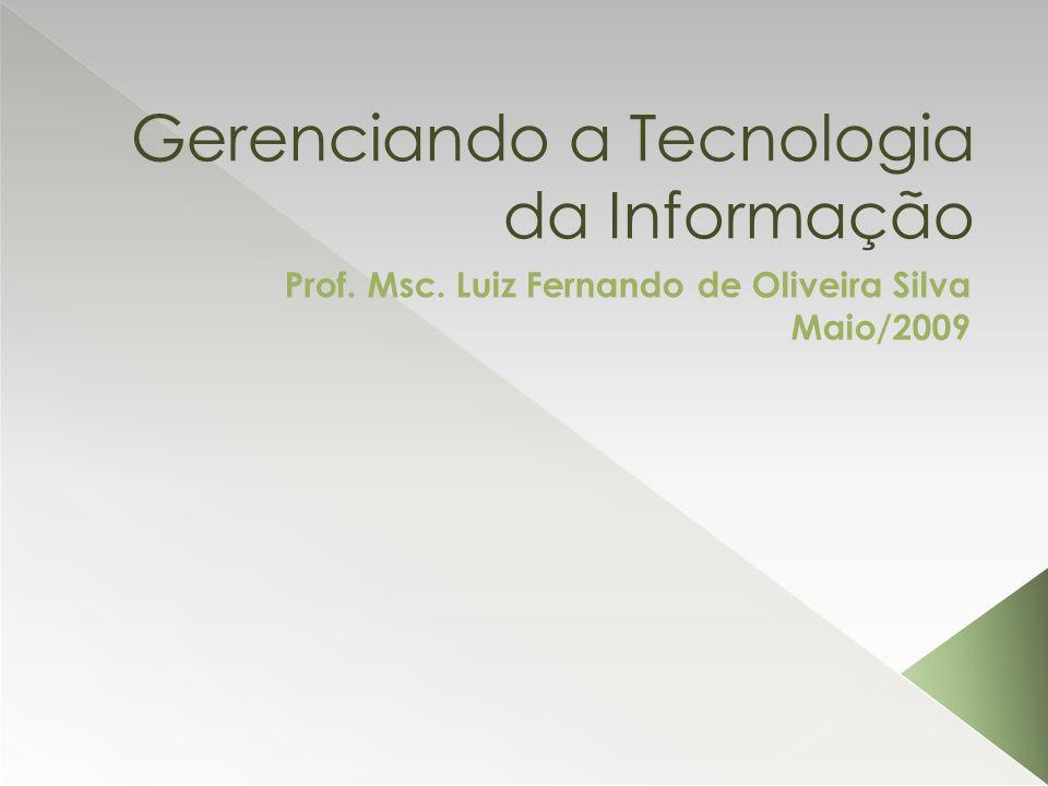 Gerenciando a Tecnologia da Informação Prof. Msc. Luiz Fernando de Oliveira Silva Maio/2009