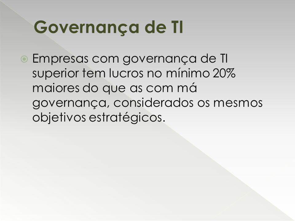  Empresas com governança de TI superior tem lucros no mínimo 20% maiores do que as com má governança, considerados os mesmos objetivos estratégicos.