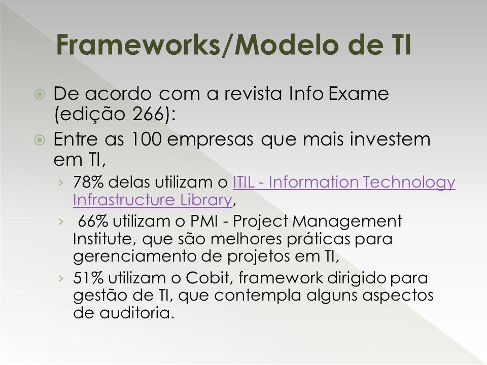  De acordo com a revista Info Exame (edição 266):  Entre as 100 empresas que mais investem em TI, › 78% delas utilizam o ITIL - Information Technolo