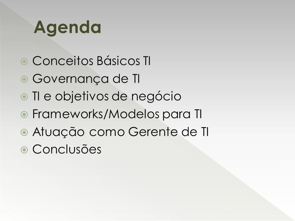  Conceitos Básicos TI  Governança de TI  TI e objetivos de negócio  Frameworks/Modelos para TI  Atuação como Gerente de TI  Conclusões Agenda