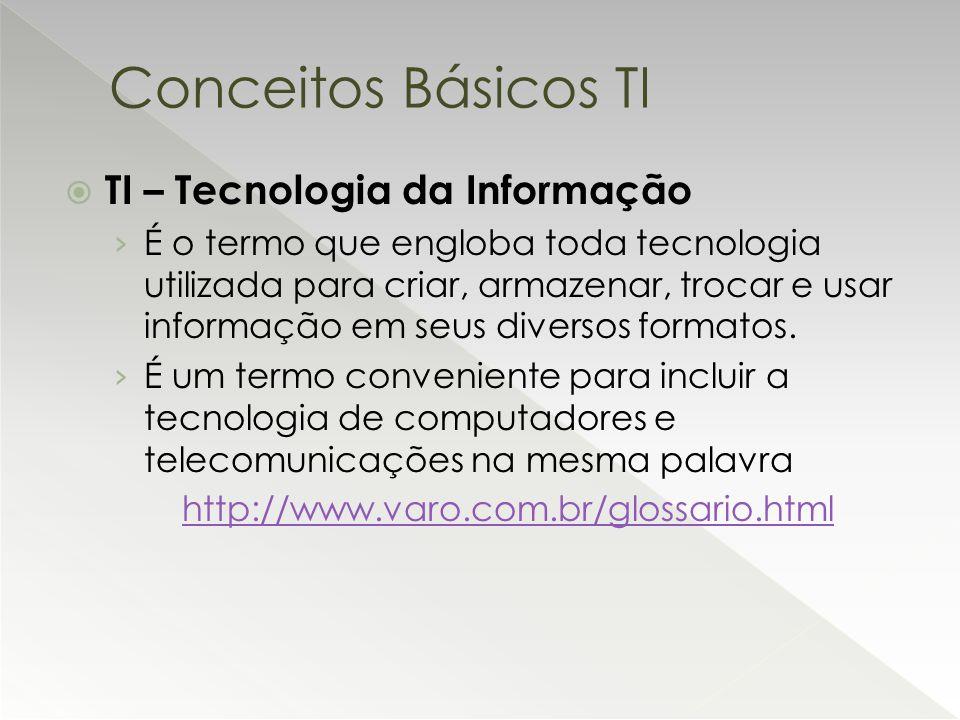  TI – Tecnologia da Informação › É o termo que engloba toda tecnologia utilizada para criar, armazenar, trocar e usar informação em seus diversos for