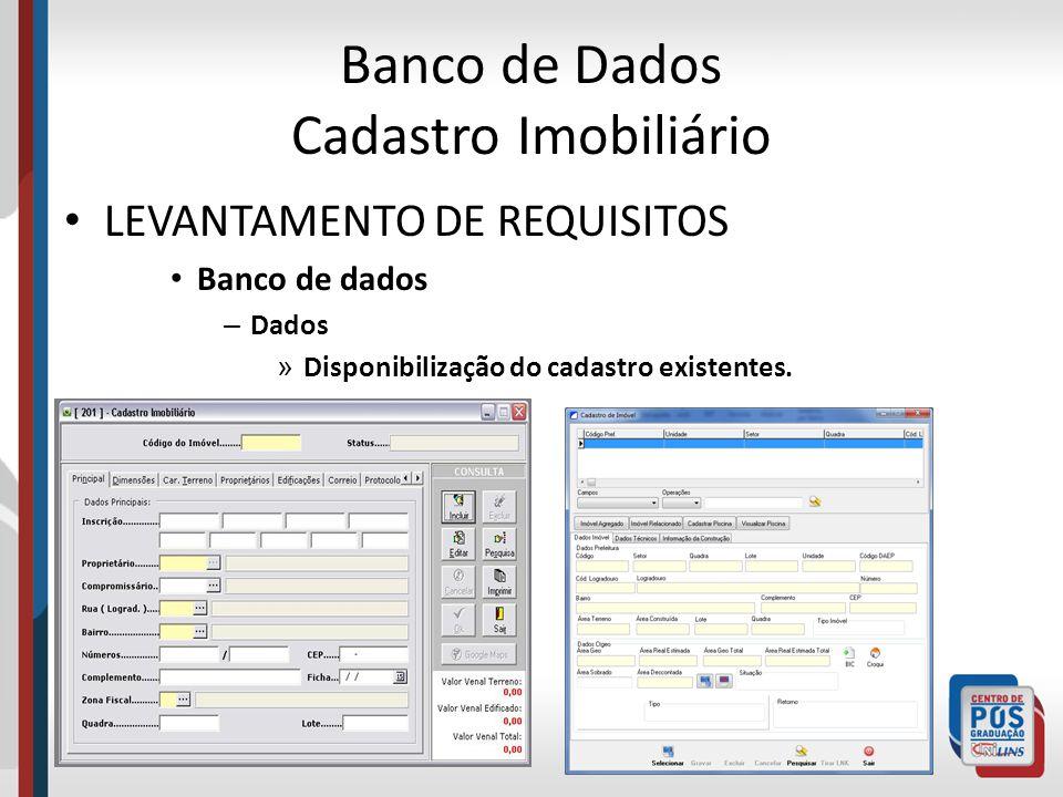 MODELAGEM DO BANCO DE DADOS Exemplo de Modelagem de Banco de dados – Cadastro Imobiliário – Prefeitura