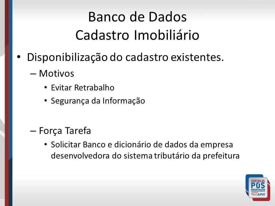 Banco de Dados Cadastro Imobiliário Disponibilização do cadastro existentes. – Motivos Evitar Retrabalho Segurança da Informação – Força Tarefa Solici