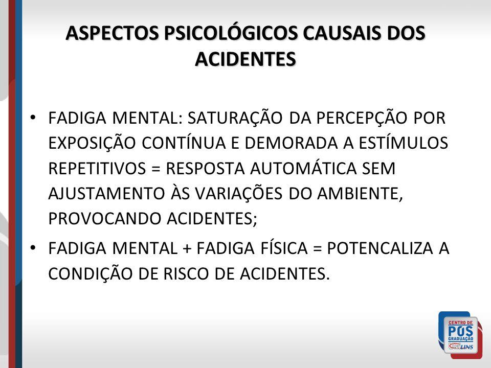 ASPECTOS PSICOLÓGICOS CAUSAIS DOS ACIDENTES FADIGA MENTAL: SATURAÇÃO DA PERCEPÇÃO POR EXPOSIÇÃO CONTÍNUA E DEMORADA A ESTÍMULOS REPETITIVOS = RESPOSTA