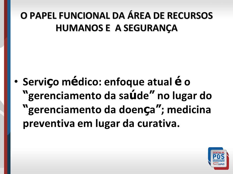 """O PAPEL FUNCIONAL DA ÁREA DE RECURSOS HUMANOS E A SEGURANÇA Servi ç o m é dico: enfoque atual é o """" gerenciamento da sa ú de """" no lugar do """" gerenciam"""