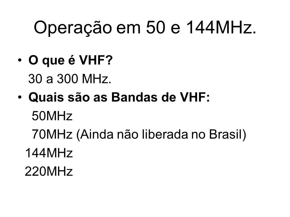 Operação em 50 e 144MHz. O que é VHF. 30 a 300 MHz.