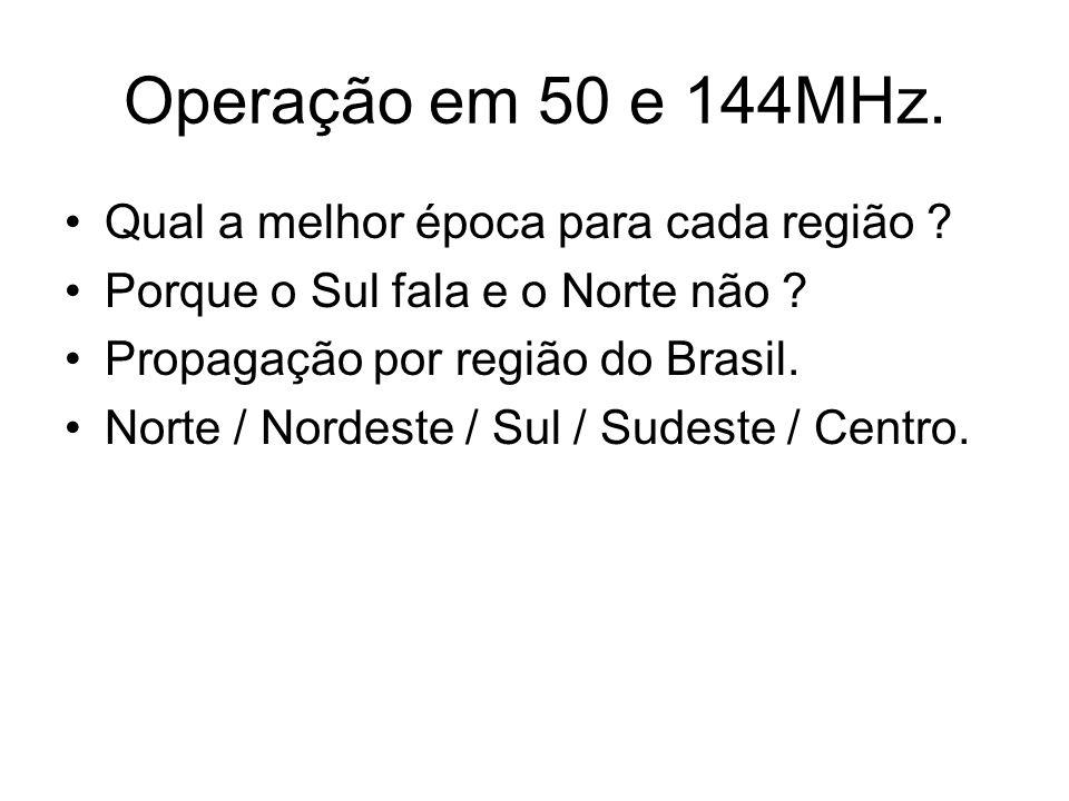 Operação em 50 e 144MHz.Monitoração em 50MHz. Vídeos de TV em 48 e 49 MHz.